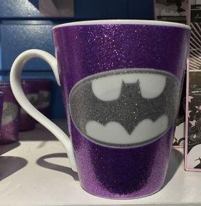 Six Flags Magic Mountain DC Batman Glitter Accent Purple Ceramic Mug Cup New
