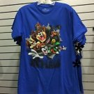 Six Flags Magic Mountain Looney Tunes Burst Character Blue Shirt New