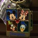 Disney Parks Disneyland Fab 4 Mickey Minnie Goofy Donald Square Keychain Neew