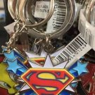 Six Flags Magic Mountain DC Superman Shield with Stars Keyring Keychain New