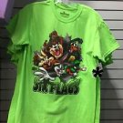 Six Flags Magic Mountain Looney Tunes Burst Character Neon Green Shirt New