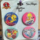 Six Flags Magic Mountain Looney Tunes Tweety Bird Buttons Set of 4 New