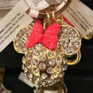 Disney Parks Gold Plated Minnie Mouse Head with Crystals Metal Keychain New