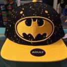 Six Flags Magic Mountain Batman Yellow Splatter Snapback Hat Cap New