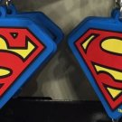 Six Flags Magic Mountain Red Blue Superman Shield Rubber Keychain New