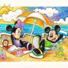 Disney Parks Mickey and Minnie Mouse Beach Time Deluxe Print by Randy Noble New
