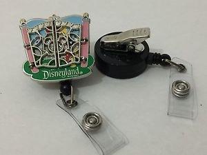 Disneyland Gates Mickey Mouse Retractable Badge ID Holder Swivel Alligator Clip