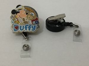 Disney Mickey & Duffy Retractable Badge ID Holder w/ Swivel Alligator Clip New