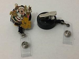 Disney Santa Mickey & Pluto Retractable Badge ID Holder w/ Swivel Alligator Clip