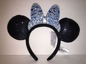 Disneyland 60th Diamond Celebration Sequin Minnie Mouse Headband with Ears New