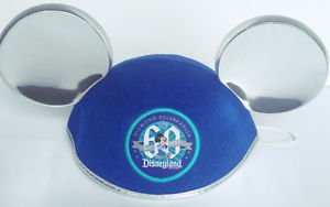 Disneyland 60th Diamond Celebration Mickey Mouse Blue Ear Hat New with Tags