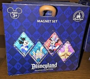 Disneyland 60th Diamond Celebration Diamond Shaped Magnet Set of 4 New in Pack