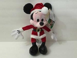 "Disney Parks Christmas Plush Mickey Mouse New 9"" Retro Santa NWT"