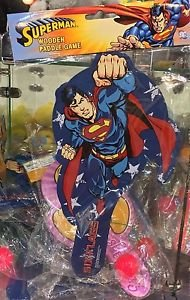 Six Flags Magic Mountain DC Comics Superman Wooden Paddle Game New