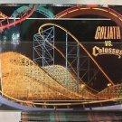 Six Flags Magic Mountain Goliath vs Colossus Coaster Attraction Postcard New