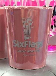 Six Flags Magic Mountain Pink Ceramic Shot Glass New