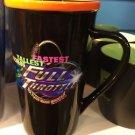 Six Flags Magic Mountain Full Throttle16oz. Ceramic Black Mug Orange Lip New