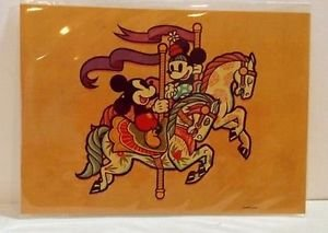 Disney WonderGround Mickey and Minnie On The Carousel Postcard Dave Quiggle New