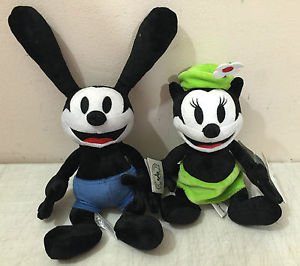 "Disney Parks DCA Oswald the Lucky Rabbit and Ortensia Plush Doll 9"" Set New"
