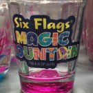 Six Flags Magic Mountain Clear / Pink Shot Glass New
