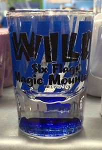 Six Flags Magic Mountain Blue Wild Clear Shot Glass New