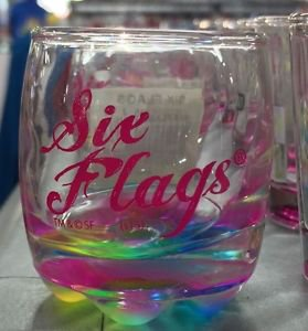 Six Flags Magic Mountain Clear Neon Colored Shot Glass New