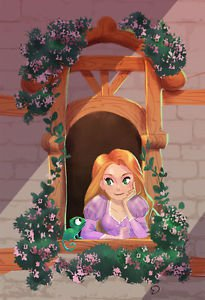 Disney WonderGround Rapunzel Happy Here and So Are You Postcard Victoria Ying