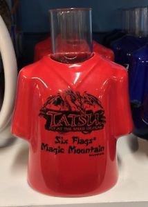 Six Flags Magic Mountain Tatsu Ceramic Shirt Style Shot Glass New