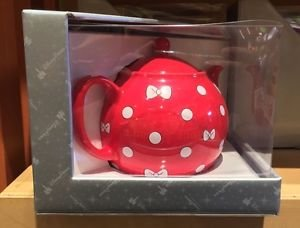 Disney Parks Minnie Mouse Red Ceramic Tea Pot w/ White Bows & Polka Dots New
