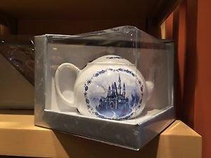 Disney Parks Cinderella's Castle Ceramic Tea Pot w/ Flower Patterns New