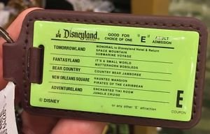 """Disneyland Resort Good For Choice of One """"E"""" Adult Admission Ticket Keychain New"""