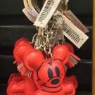 DISNEY PARKS MICKEY MOUSE STITCHED KEYRING KEYCHAIN NEW (RED)