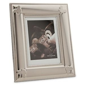 Disney Parks Mickey Mouse Icon Metal Silver Color 5x7 Photo Picture Frame New