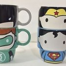Six Flags Magic Mountain Justice League Cuties Stackable Ceramic Mugs Set of 4