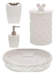 Disney Parks Mickey Soap Dish Toothbrush Holder Soap Dispense & Storage Jar Set