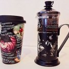 Disney Parks Exclusive Alice in Wonderland Tea Press + Alice Travel Mug W/ Lid
