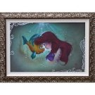 Disney Parks Little Mermaid Ariel and Flounder LE Framed Canvas Print Noah New