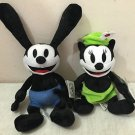 "Disney Parks Oswald the Lucky Rabbit and Ortensia Plush Doll 9"" Set New"