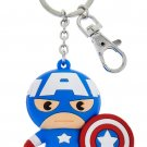 Disney Parks Marvel's Captain America Cartoon Cutie Large Head Keyring Keychain