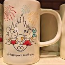 DISNEY PARKS MICKEY AND MINNIE MOUSE MY HAPPY PLACE IS WITH YOU CERAMIC MUG NEW