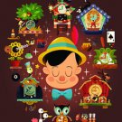 Disney WonderGround Pinocchio Brave Truthful Unselfish Postcard by Chris Lee