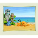 Disney Parks Pluto and Stitch Suspicious Tiki Deluxe Print by Doug Bolly New
