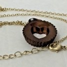 REESE'S PEANUT BUTTER CUP GOLD TONE NECKLACE WITH PENDANT