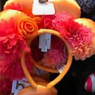 Disney Parks Minnie Mouse Orange Multi color Ruffle Flower Headband Mickey Ears