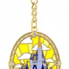 Disney Parks Cinderella's Castle Stained Glass Dangling Keychain New