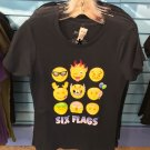 Six Flags Magic Mountain Adult Emoji Black T-Shirt SIZE XS,M,L XL,XXL New