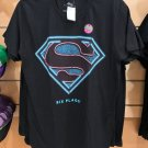 Six Flags Magic Mountain Superman Shield Black Shirt Glow In The Dark New