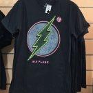Six Flags Magic Mountain The Flash Logo Black Shirt Glow In The Dark New