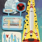 Disney WonderGround Gallery Rocket To The Moon Postcard Michelle Bickford New