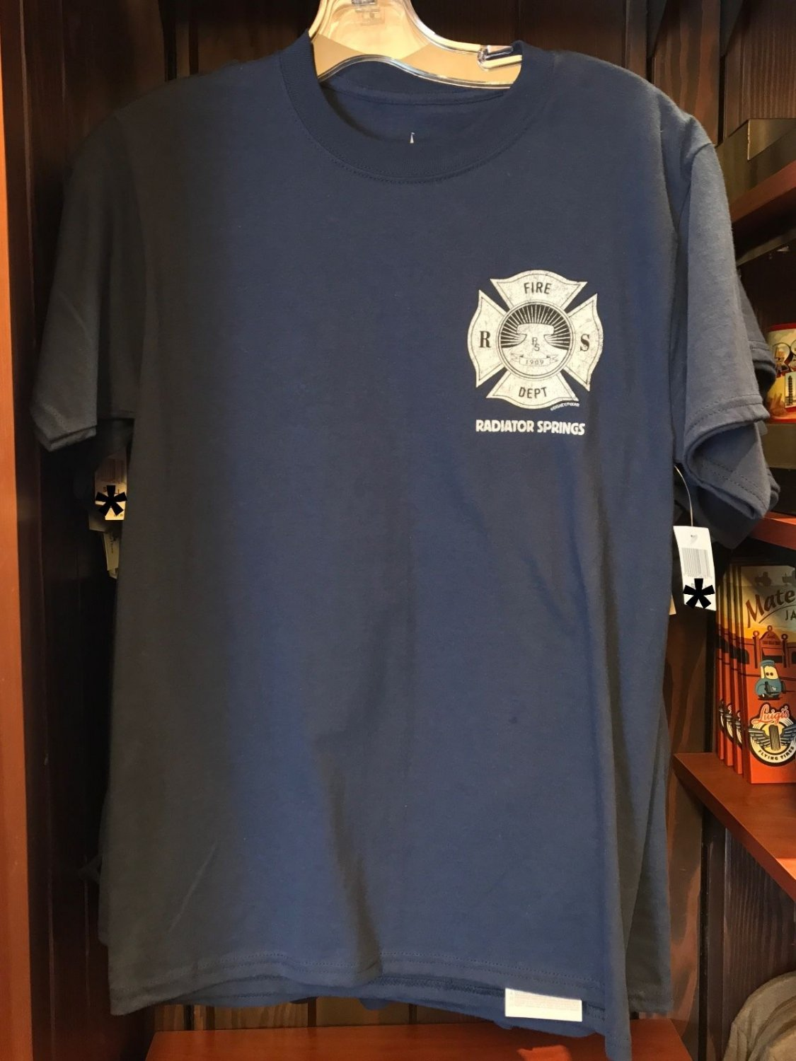 DISNEY PARKS DCA CARS LAND RADIATOR SPRINGS FIRE DEPARTMENT MENS SHIRT NEW